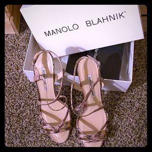Manolo Blahnik Pink Snakeskin Heels